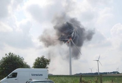 Vestas turbine on fire